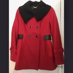 Red wool pea coat